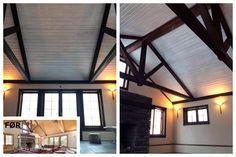 Denne #stuen har fått et skikkelig løft med #maling og #beising av tak, lister og bjelker.
