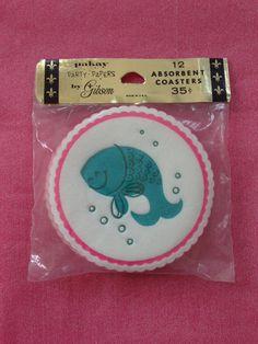 vintage Dennison fish sticker sheet 70/'s 80/'s crab sea life