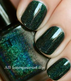 I REALLY NEED THIS COLOR :)     ALU's 365 of Untrieds – Glitter Gal Lizard Belly Green Holographic Nail Polish