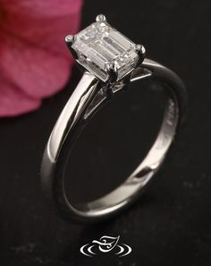 Custom CAD/cast 950 Platinum 4-prong solitaire mounting holding a 1.01ct emerald cut diamond in center. - See more at: http://www.greenlakejewelry.com/gallery/cust_gallery.aspx?ImageID=97304#sthash.VeVJ6uFG.dpuf