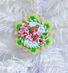 Handcrafted Polymer Clay Christmas Bear Scene Ornament