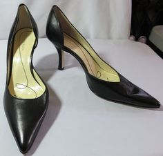 """ANNE KLEIN"" SIZE 8.5 BLACK LEATHER PUMPS SHOES - PLEASE SEE ALL PICTURES #AnneKlein #PumpsClassics"