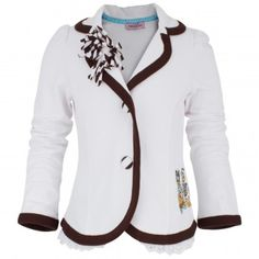 Monnalisa blazer features collar and lapels with brown trim and striped detailing on right lapel, long sleeves and two striped button fastenings. In addition, there is a diamante Daisy and Donald Duck embroidery and a lace and netting trim along hem