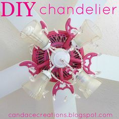 DIY old ceiling fan into cute girly chandelier fan