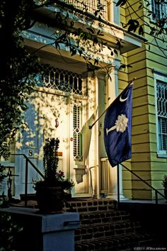 Charleston home - love the window detail, color of house, door, shutters, columns, brick steps