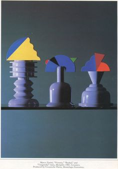 """you have been here sometime: """"I think we need more thinkers and less architects. """" Bauhaus, Nathalie Du Pasquier, Memphis Milano, Memphis Pattern, Fluorescent Colors, Memphis Design, Design Movements, Vases, Ceramic Clay"""
