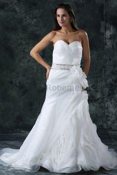 Robe de mariée de princesse de traîne longue en organza de col en cœur avec…