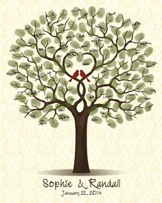 Wedding Guestbook Tree Guest Book with Love Birds Family Tree
