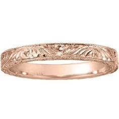 14K Rose Gold Hand-Engraved Laurel Ring, Brilliant Earth