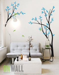 Fairytale Trees Children's Wall Decals Birds on Branches Vinyl Wall Art DIY Mural Woodland Forest Ou Simple Wall Paintings, Home Wall Painting, Creative Wall Painting, Wall Painting Design, Tree Wall Art, Vinyl Wall Art, Vinyl Decals, Childrens Wall Decals, Photo Wall Hanging