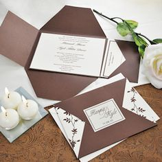 Chocolate and Ivory Vintage Invitation Kit from Wedding Favors Unlimited