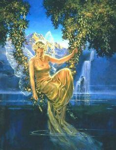 Ephemere by charlesvinh on DeviantArt Fairy Land, Fairy Tales, Troll, Water Fairy, Mermaid Fairy, Fairy Garden Houses, Beautiful Fairies, Fantasy Art, Fantasy Fairies