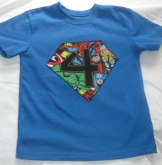 Hand Stitched Custom Super Heroes Birthday Shirt by TokenBlonde, $19.50