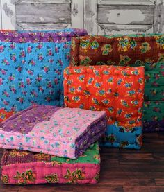 Size: Small – 16″ x 16″ Large - Back in Stock in November MSRP: $79.00 OUR PRICE: $49.90 These stylish Chent Floor Cushions have been handmade by skilled artisans in India using traditional techniques