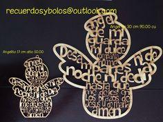 Cruces con el Padre Nuestro y el Angel de la Guarda en MDF como recuerdos de Bautizo y Primera Comunion Minimo de venta de 10 piezas...