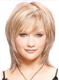 New Fashion Glamour Medium Layered Straight Affordable Wig 100% Real Human Hair 12 Inches, 148.99