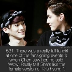 Haha Chen and kris Exo Facts, Funny Facts, Exo Chen, Exo Memes, We Are Together, My Escape, Chanyeol, Music Artists, Boy Groups