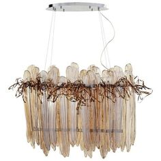 Cyan Design Thetis Island Thetis 5 Light 1 Tier Linear Chandelier, Chrome And Copper (Glass)