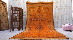 Yellow Vintage Moroccan Berber rug 5.8 ft x 12.6 ft