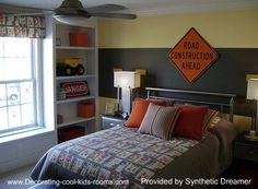 love this for Talans room exactly what i want but add orange curtains and paint the white orange and minus bedding
