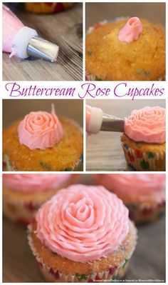 This tutorial for buttercream roses would be perfect for spring or Mother's Day. Buttercream Cupcakes, Fondant Cupcake Toppers, Yummy Cupcakes, Cupcake Cakes, Cupcake Recipes, Dessert Recipes, Baking Desserts, Health Desserts, Cake Decorating Tutorials