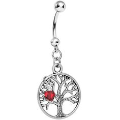 Tree of Life with Red Heart Belly Ring