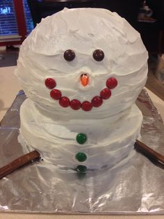 Snowman Cake! My 9yr old son made this for his cub scout cake war competition!
