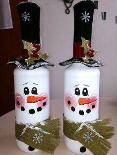 handmade christmas crafts reused old glassbottles snowmen black hats decorating ideas