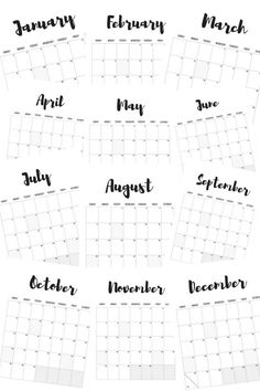FREE 2017 monthly calendar printables! Available in black & white and watercolored theme.