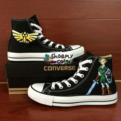 df46af8fc085 Mens Converse shoes The Legend of Zelda Hand Painted Canvas Sneakers. Converse  MenConverse HighCustom ...