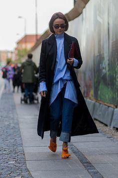 COPENHAGEN, DENMARK - AUGUST 10: Lena Lademann wearing Charlotte Olympia shoes…