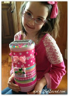 DIY Valentine Box Craft: Upcycled Oatmeal Container - SheSaved®  Do the kids need something cute to store their Valentines in? My daughter and I made this DIY Valentine Box Craft using an oatmeal container. Cute and free!