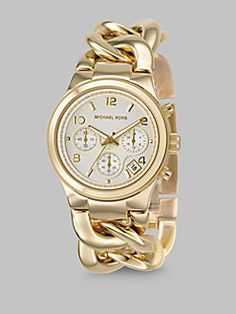 Michael Kors - Gold IP Stainless Steel Twist Chain Watch
