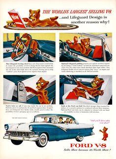 Vintage Ford Fairlane Town Victoria Ad - 1956
