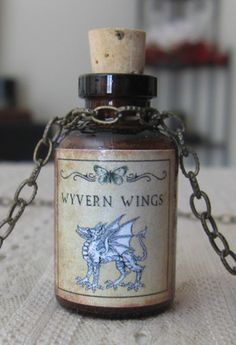 Wyvern Wings Potion Bottle Necklace Pendant Apothecary Vial
