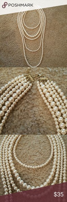 Necklace Multi layered Pearl necklace!! Great for a simple dress or  woman suit! Jewelry Necklaces