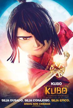 Cartaz de Kubo, o protagonista dessa aventura, que descobre que seus poderes mágicos são ainda maiores em sua jornada!