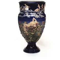 A monumental Choisy-le-Roi Maiolica vase by Louis Carrier Belleuse,... ❤ liked on Polyvore featuring home, home decor and vases