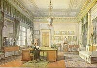 """The Tsar's Study at tge Winter Palace.Tsar Alexander II of Russia died on the chaise longue by the columns.   """"AL"""""""