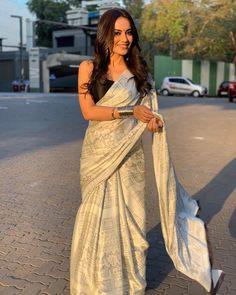 Saree Indian Bollywood New Digital Reach Printed White Fancy Saree For Woman DV Party Wear Dresses, Party Wear Sarees, Bridal Dresses, Saris, Indian Sarees, Silk Sarees, Cotton Saree, Sabyasachi Sarees, Drape Sarees