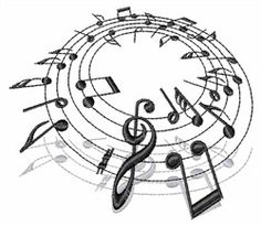 Text and Shapes Embroidery Design: Music Notes from Concord Collections