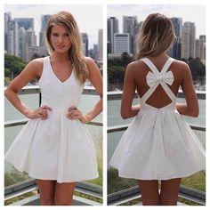 Women Mini Dress with Open Cross Bow Back