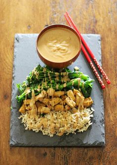 tofu satay, garlic rice, and vegan peanut sauce...must try