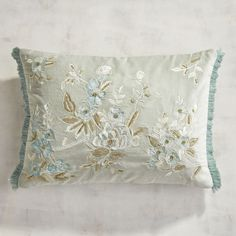 With soft velvet construction, subdued embroidery and fancy fringe trim, our oblong pillow in mineral hues brings to mind a luxurious Victorian shawl. Add a touch of beautiful elegance to your sofa, and make your room peaceful and romantic. Featuring a hidden zipper, it has a plump poly insert for long-lasting comfort.