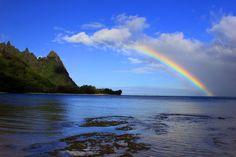 Morning Rainbow - Tunnels Beach - Kauai, Hawaii.