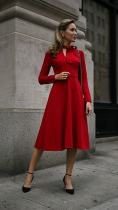 Red long sleeve fit-and-flare tie-neck midi dress, black ankle-strap pumps, black leather crossbody bag {Black Halo, Sam Edelman, Gucci, wear to work, office style, what to wear to a business conference, conservative workwear, fall fashion, tie-neck dress, midi dress, fashion blogger}
