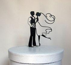 Questa sposa e sposo Wedding Cake topper fatta di 1/8 nero ABS    Dimensione; 4,85 x 6 H    Topper è leggero quindi non affonderà nella vostra