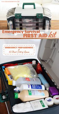 Designed by a nurse, this First Aid Kit will have you prepared for just about any emergency you could encounter. Tons of great ideas on what to include for your own! Via A Bowl Full of Lemons Love her super organized first aid kit!