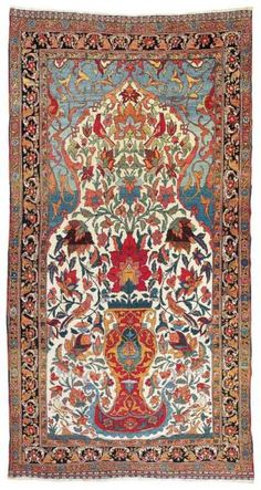 Blue Turkish Rug W Persian Influence In Design