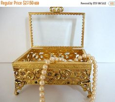 SALE Vintage Gold Metal Jewelry box Ormolu style Casket box Trinket box Rose Filgree box